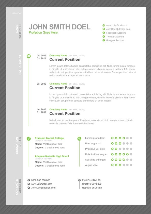Free CV Resume Free PSD Template PSD files, vectors  graphics - what is a resume cv