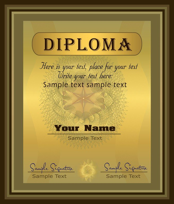 Free Gorgeous Diploma Certificate Template 04 PSD files, vectors
