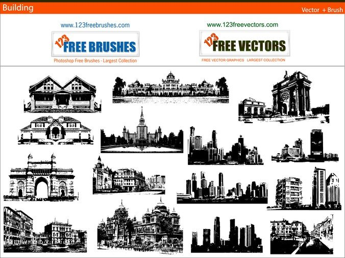 Free Buildings Free Vector And Photoshop Brush Pack PSD files