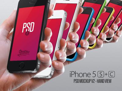 Iphone 5S & 5C Mockup - Hand PSD