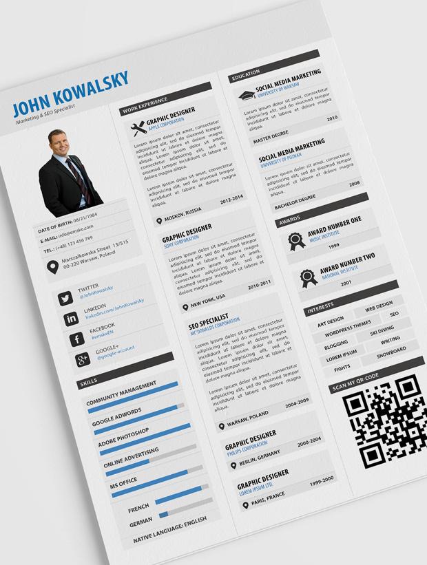 professional resume cv template psd