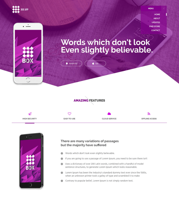 One Page Mobile Application Landing