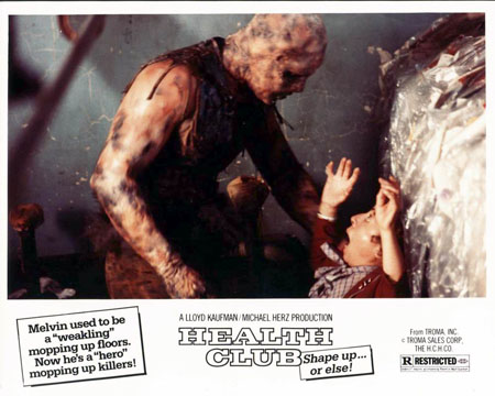 Promotional card for The Toxic Avenger (1984) under it's working title, Health Club