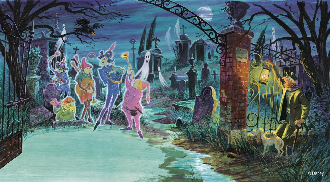 Fall Graveyard Cemetery Wallpaper Disney Vintage Disneyland 1969 Haunted Mansion Vintage