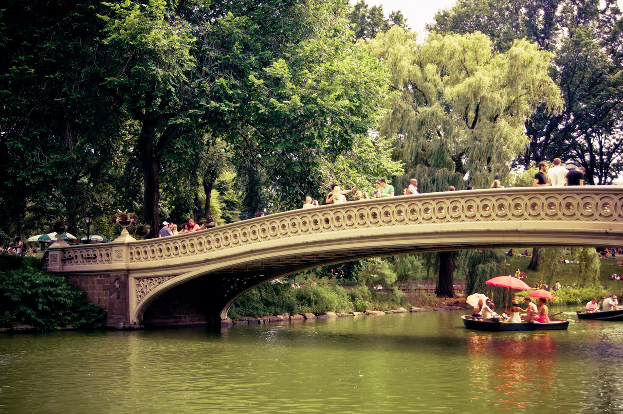 Central Park In Fall Wallpaper Red Umbrellas And Row Boats Under Bow Bridge Ny