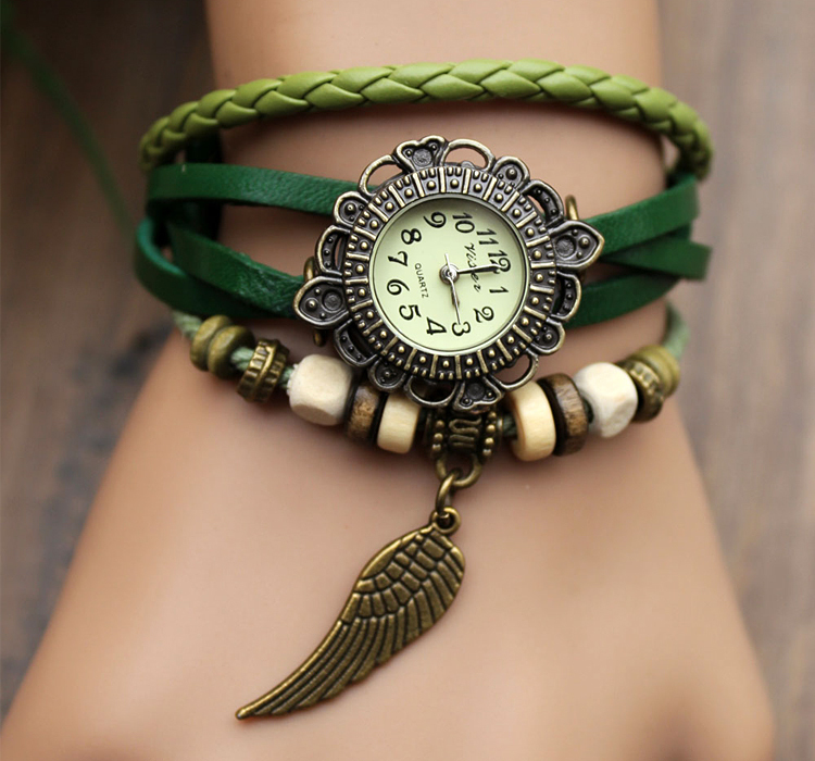 Handmade Leather Strap Watches Woman Girl Quartz Wrist