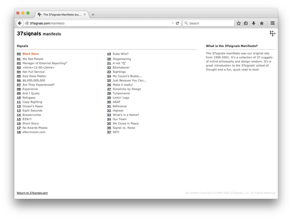 Signal v Noise by Basecamp \u2013 Business, Design, Programming, and the Web