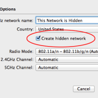 AirPort Utility: Create hidden network