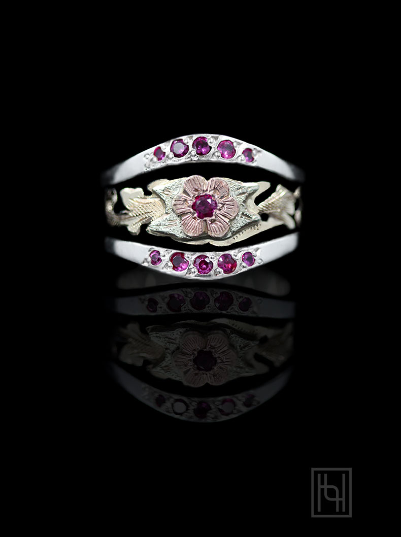 9 western style wedding rings Rose Flower Silver Ring w Ruby Red Accents