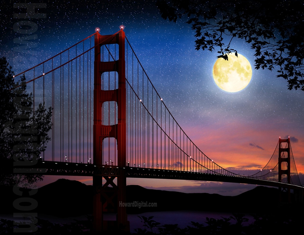 Imaginary Wallpapers Hd Archer S Quill Golden Gate Bridge At Night Full Moon