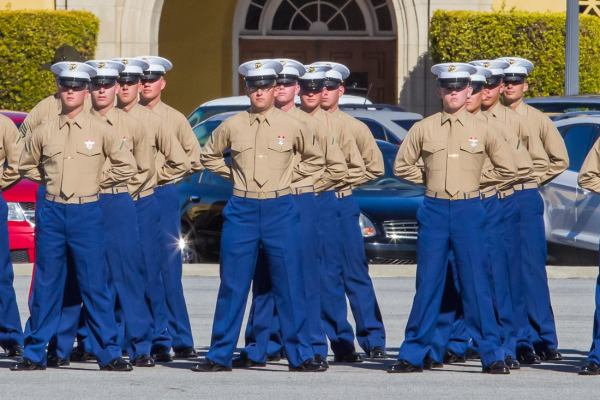 United States Marines graduation ceremony at MCRD San Diego