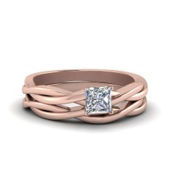 Dining 14k Rose G Fd8252pr Nl Rg What Is A Diamond Hybrid What Is A Diamond Blade Princess Cut Vine Solitaire Bridal Ring Set