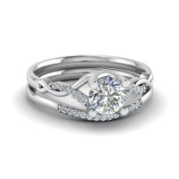 Round Cut Twisted Diamond Wedding Anniversary Ring Sets ...