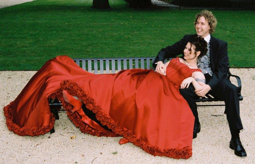 bruiloft rode jurk