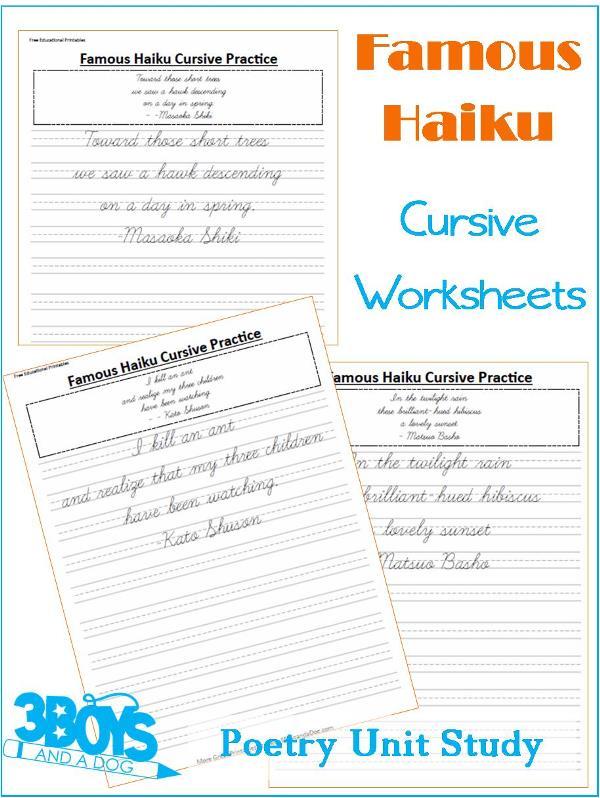 Cursive Handwriting Sheets Poetry Unit Study \u2013 3 Boys and a Dog