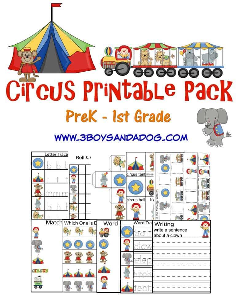 Circus Printable Worksheets \u2013 3 Boys and a Dog \u2013 3 Boys and a Dog