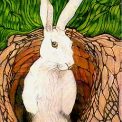 "Rabbit in a Hole 9"" x 12"""