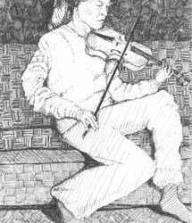 """Girl with Violin 5"""" x 8"""""""