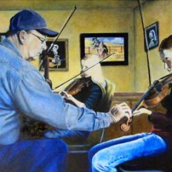 "The Fiddle Lesson 20"" x 16"" oil painting"