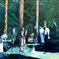"""Hop Canyon, Magdalena, NM, 1886 48"""" x 32"""" oil painting"""