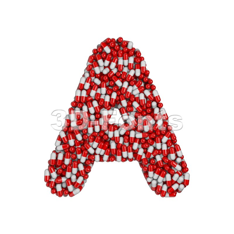 pills letter A Capital character on white background