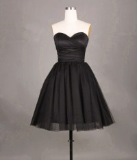 Pretty Simple And Cute Black Short Tulle Prom Dresses
