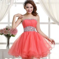 Cute Handmade Coral/Watermelon Ball Gown Short Prom ...