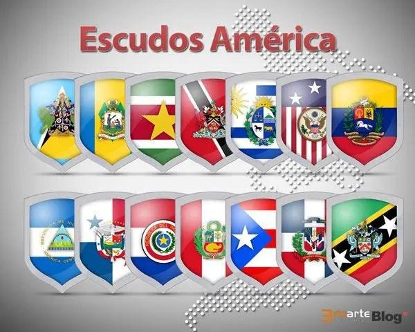 36 iconos de escudos con banderas de América en PNG Gratis<!