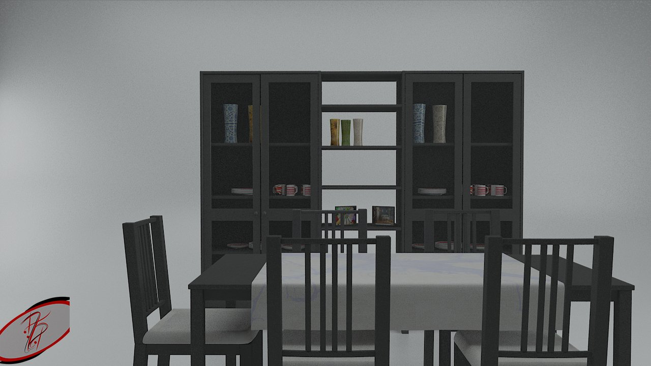 Ikea Küche 3d Modelle Ikea Dining Table And China Cabinet Game Ready 3d Modell In Küche 3dexport