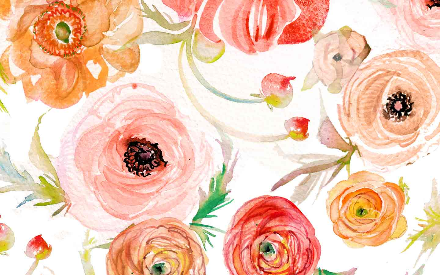 Orange Fall Peony Wallpaper Watercolor Wallpaper And Lock Screen Downloadsmomental Designs