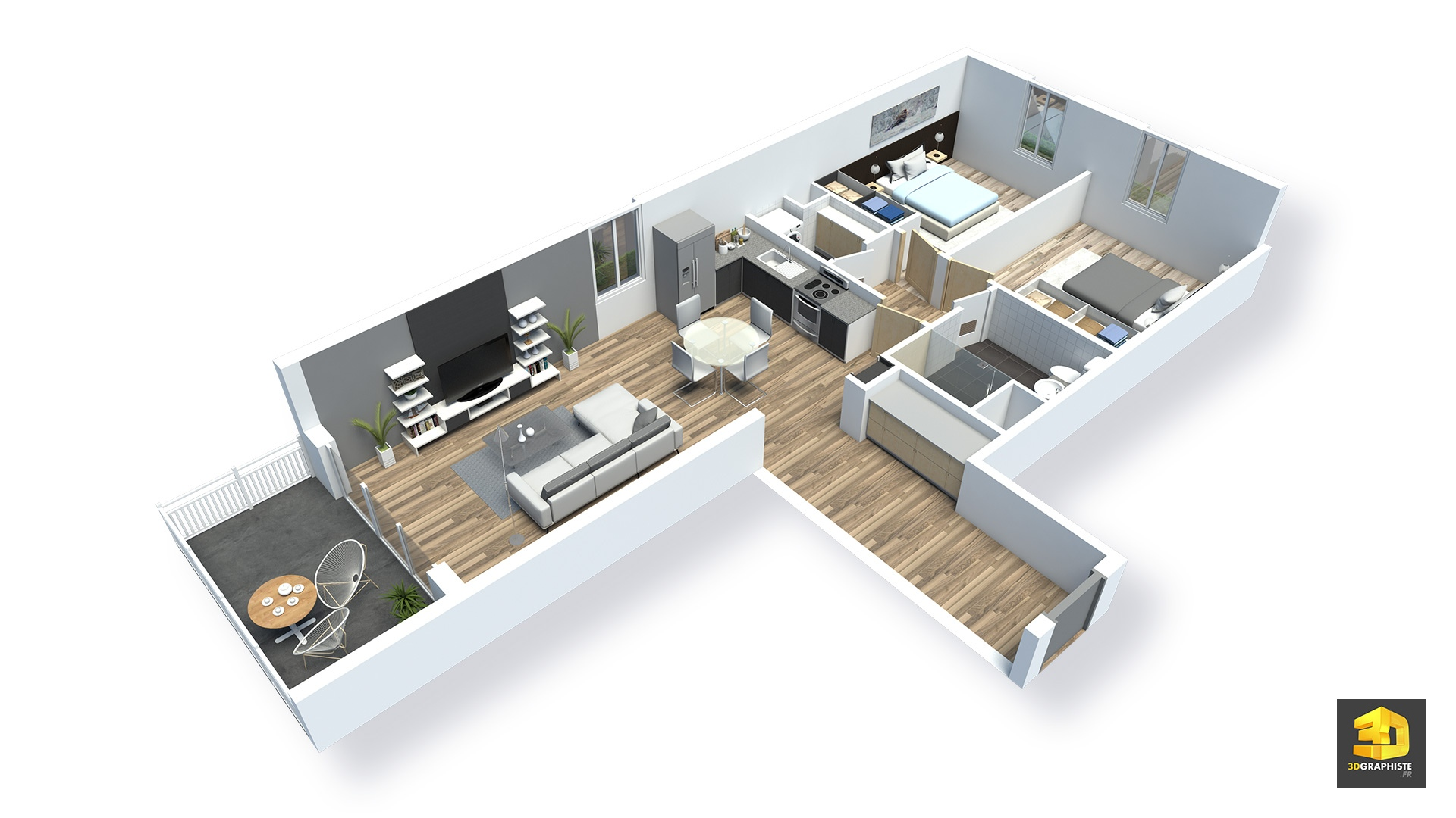 Meuble 3d Plans Meublés D 39appartements En 3d Résidence Saint Quay