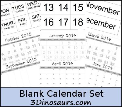 Free Blank Calendar Printables 3 Dinosaurs