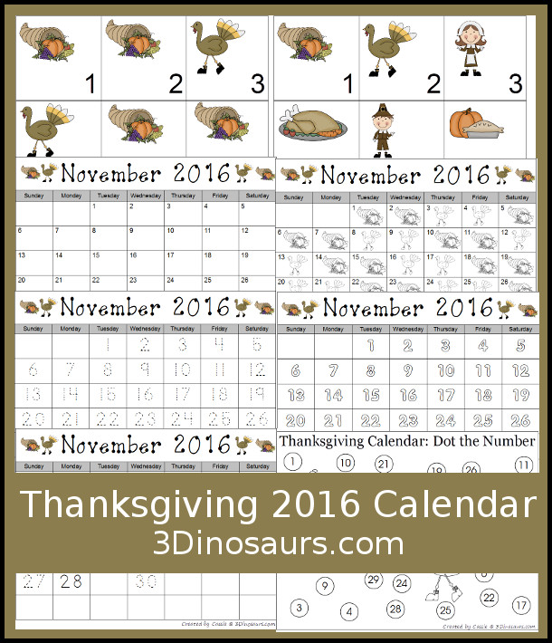 Easy to Use Thanksgiving Calendar Set for 2016 {Free} 3 Dinosaurs