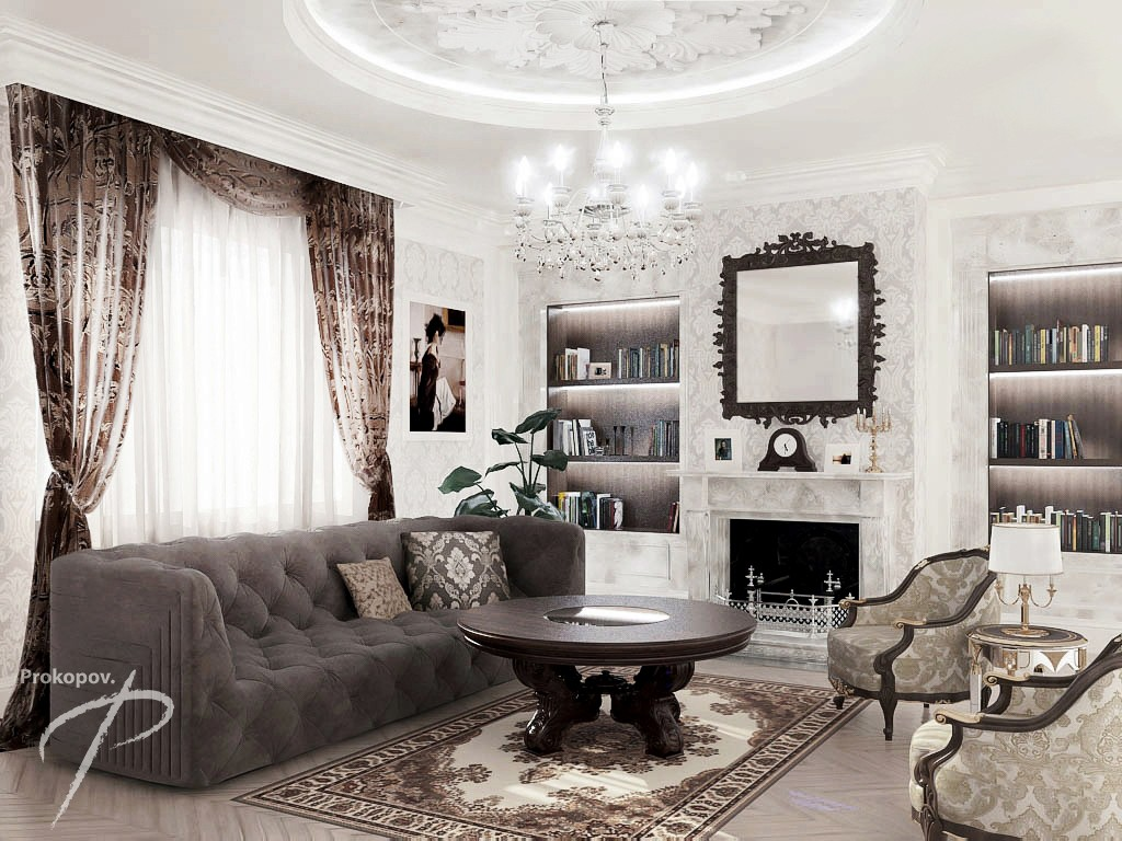 Wohnzimmer Style Living Room In Classic Style 3d Visualization And Design