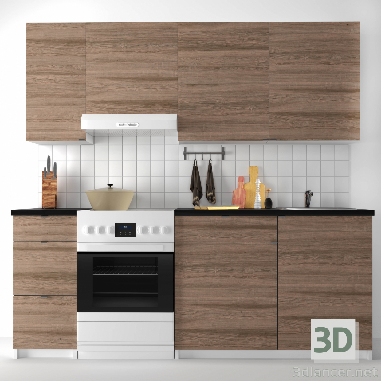 Kitchen Design 3d Model 3d Model Modular Kitchen Ikea Kohokhult Available For Download In