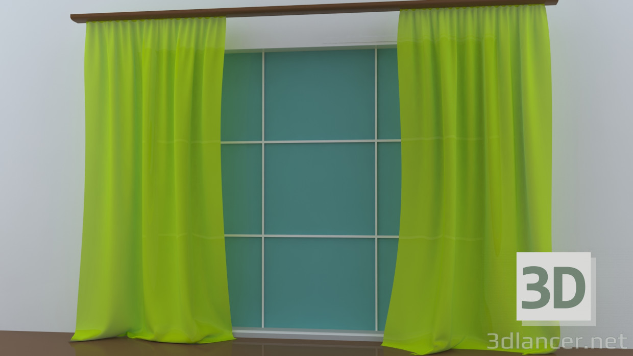 Lemon Green Curtains 3d Model Lemon Curtains Max 2013 Max 2015 3ds Free