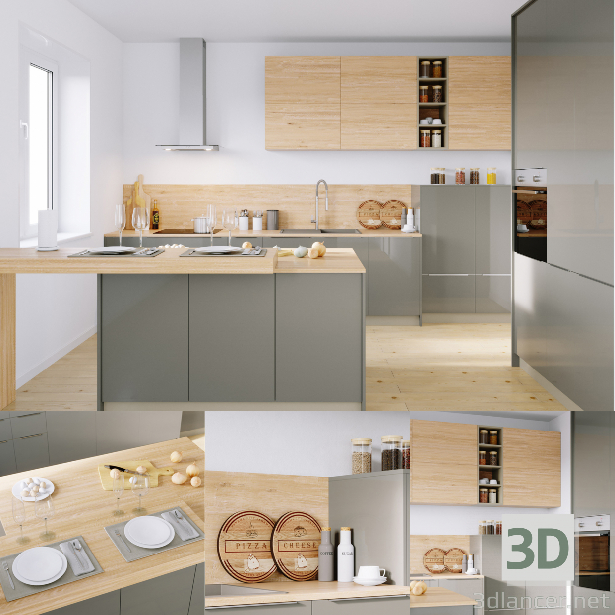 Kitchen Design 3d Model 3d Model Kitchen Nolte Corona 19q Legno 59c Corona Pbr Available