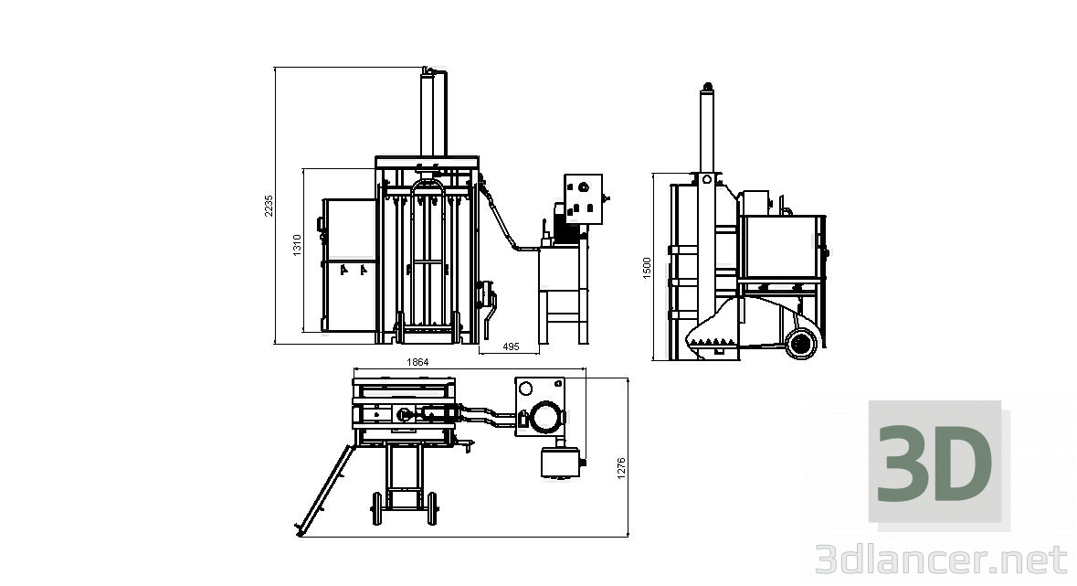 3d model Hydraulic press for paper and cardboard, stl, - Free
