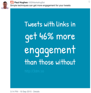 Tweets with links in get 46% more engagement than those without
