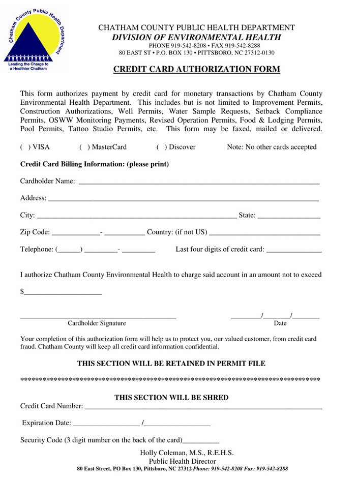 Credit Card Authorization Form Card Not Present, CenPOS, credit - fax authorization form