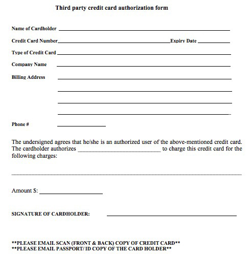 3rd PARTY CREDIT CARD AUTHORIZATION FORM - authorization to use credit card