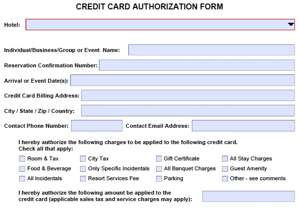 Hotel credit card authorization form change - authorization to use credit card