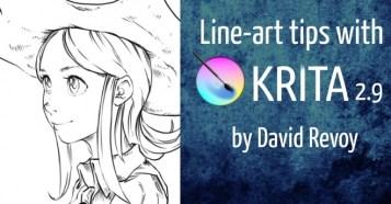 Line-art tips with Krita 2.9 - 最強無料2Dペイントソフト『Krita 2.9』を使った「線画作成テクニック」映像が公開!最新版「Krita 2.9.4.1」も要チェック!