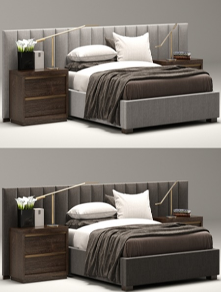 Sofa Bed With Metal Frame Rh Modern Custom Vertical Channel Extended Headboard Bed