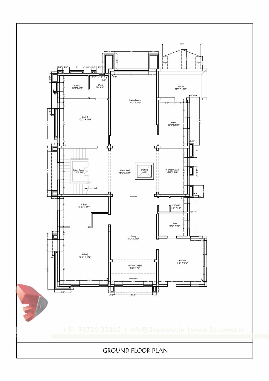 House Plan Drawing Bungalow 3d Interior Design