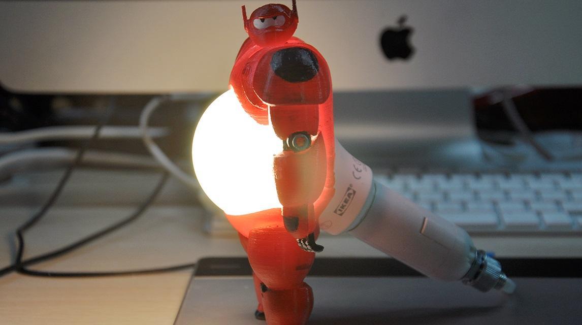 3denovo Designs Unique 3d Printed Lamp Of Baymax From Big