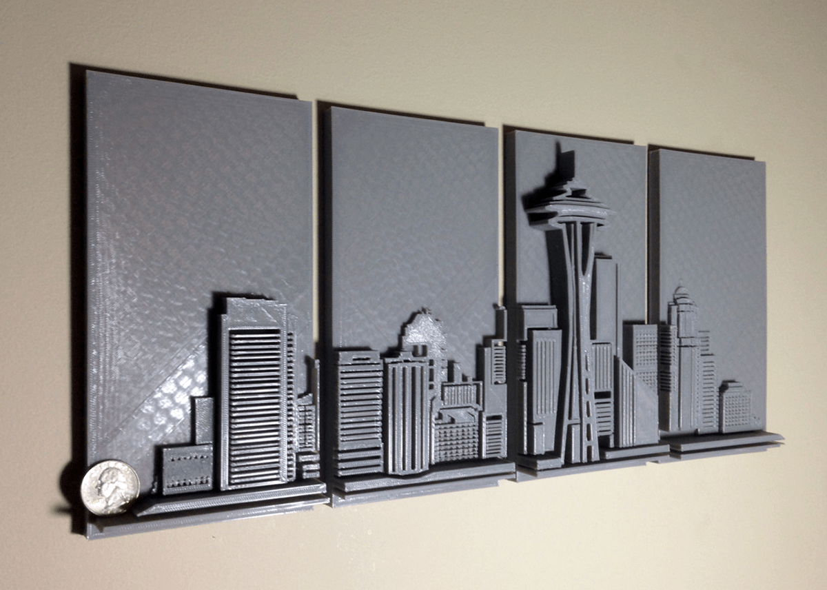3d Wall Art 3d Printed Seattle Skyline Wall Art 3d Printing Industry