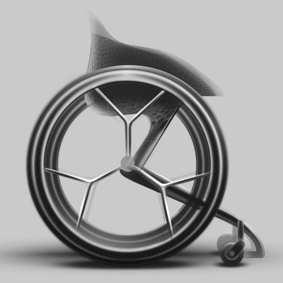 A lightmass wheelchair with thin cf spokes
