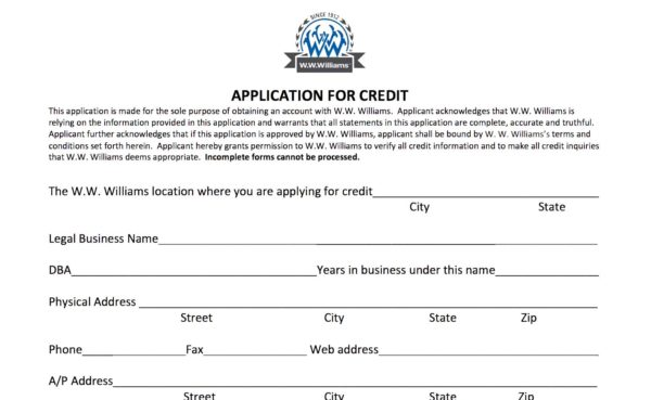Credit Application WWWilliams - credit application