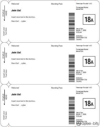 Boarding Pass Templates for Invitations  Gifts - e ticket template